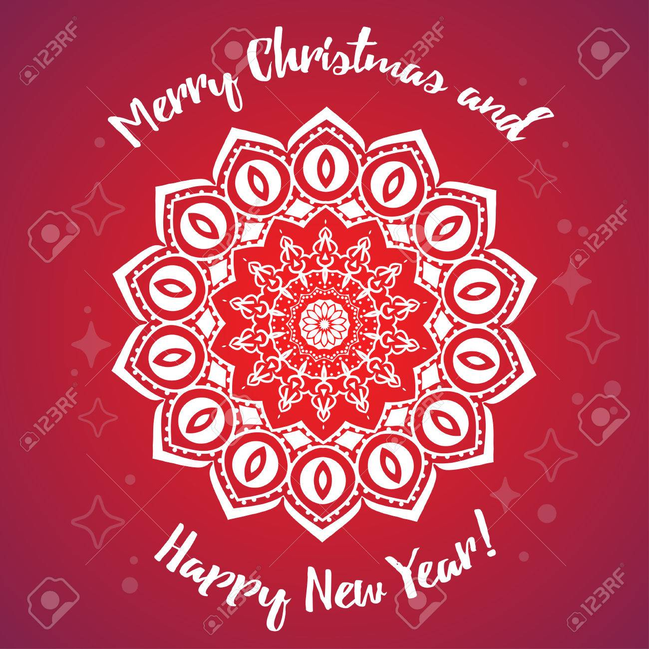 greeting card happy new year and merry christmas mandala snowflake arabic and indian style