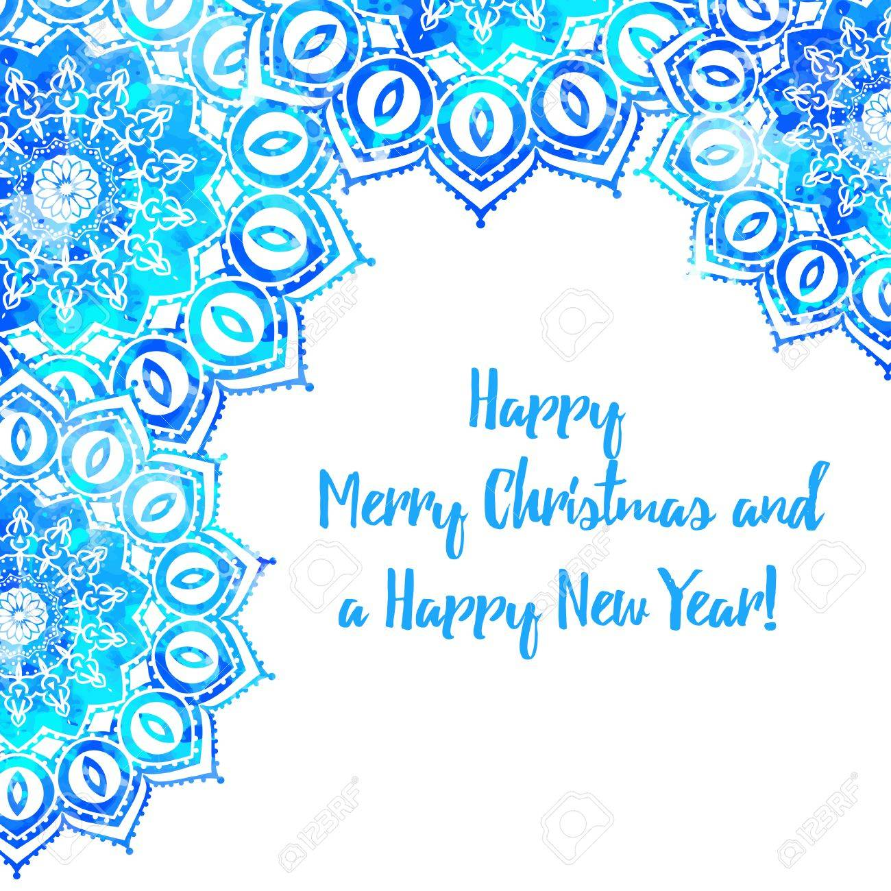 Greeting Card Happy New Year And Merry Christmas. Mandala Snowflake ...