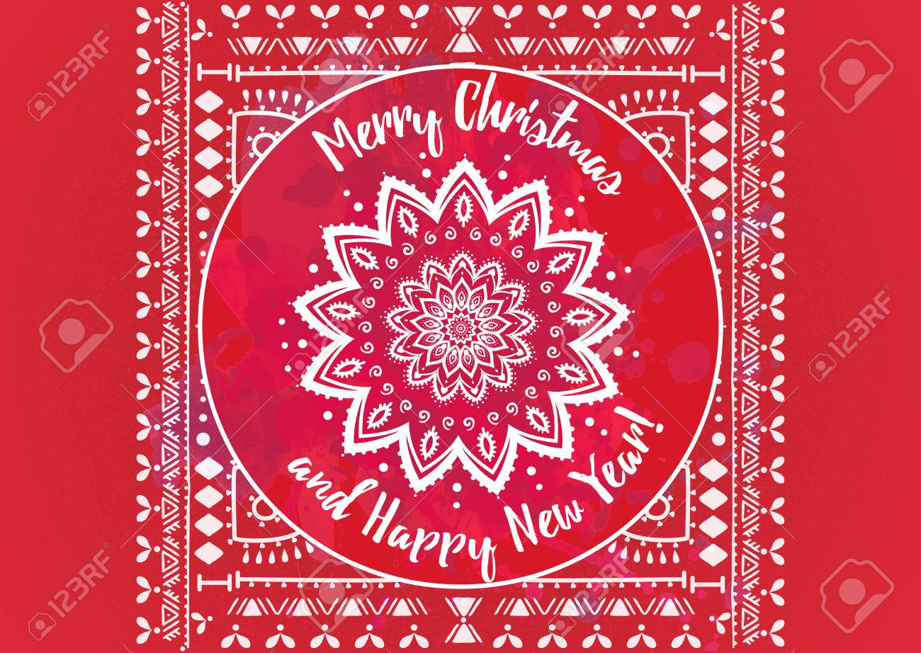greeting red card happy new year and merry christmas mandala snowflake arabic and indian