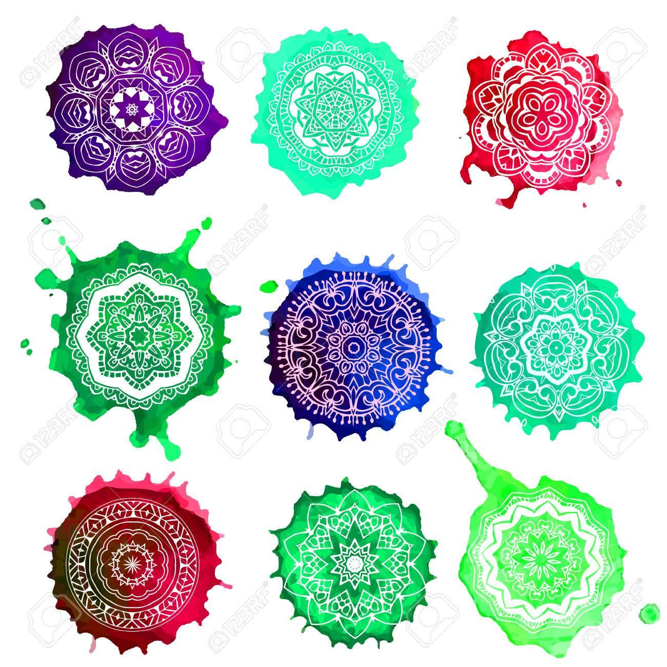 Watercolor Color Card With Mandala. Geometric Circle Element ...