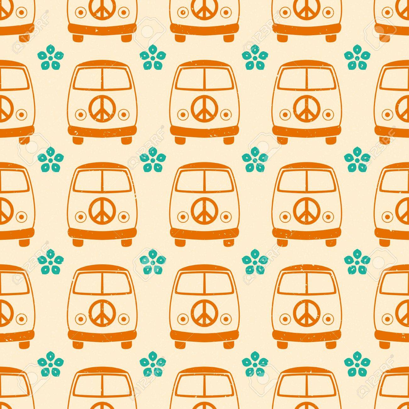 Hippie vintage car a mini van  Ornamental background  Love and