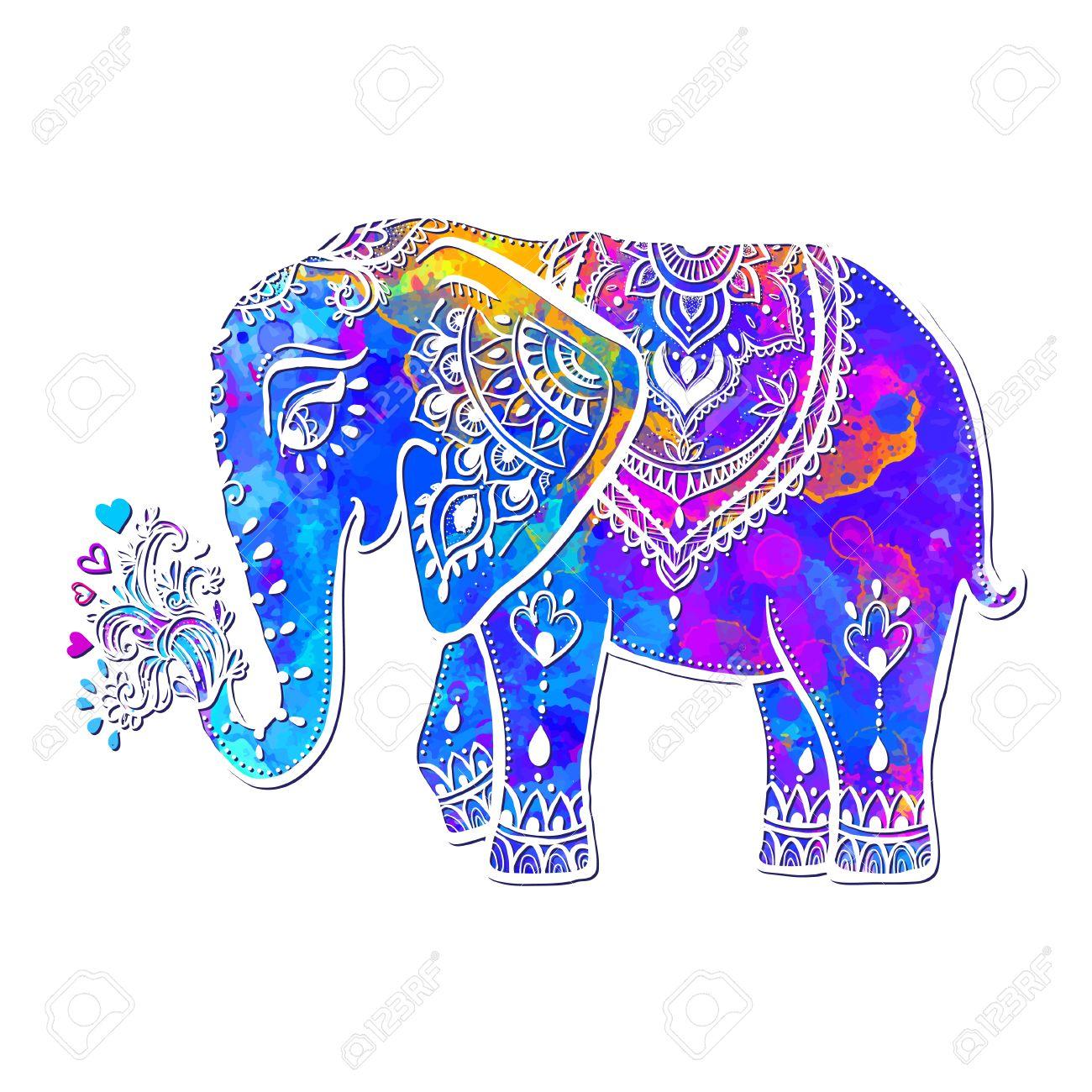 Tarjeta Con El Elefante. Marco De Animales Hecho En Vector ...
