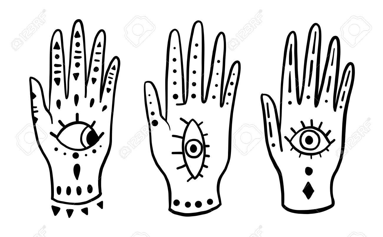 Pattern Fashion Hands Hamsa Fatima Amulet Symbol Of Protection