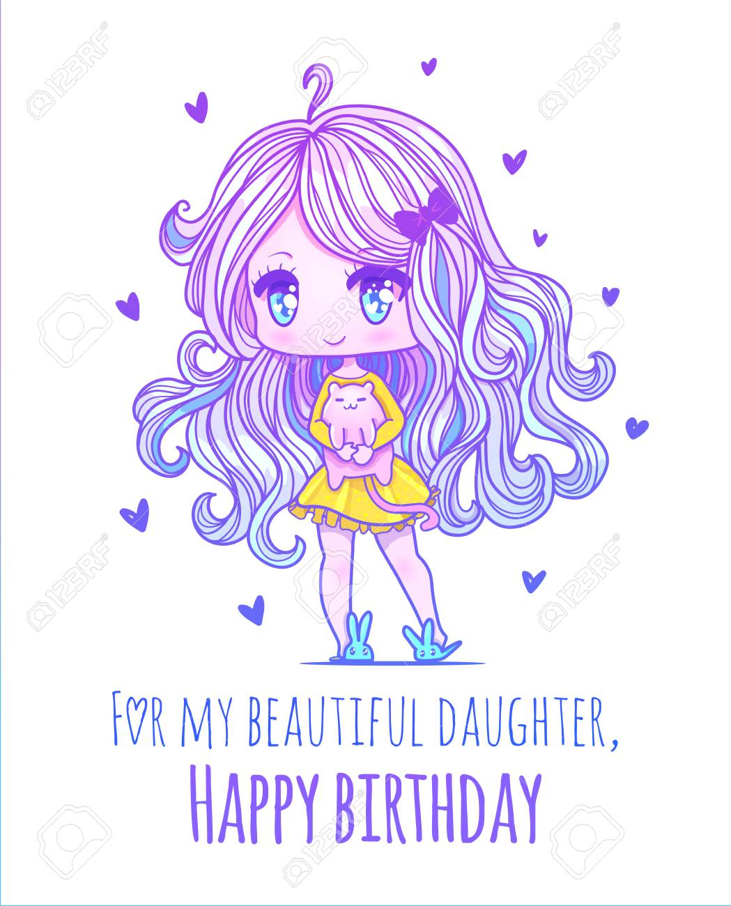 Cute Vector Illustration Kawaii Anime Girl Big Eyes Use For Royalty Free Cliparts Vectors And Stock Illustration Image 92186358