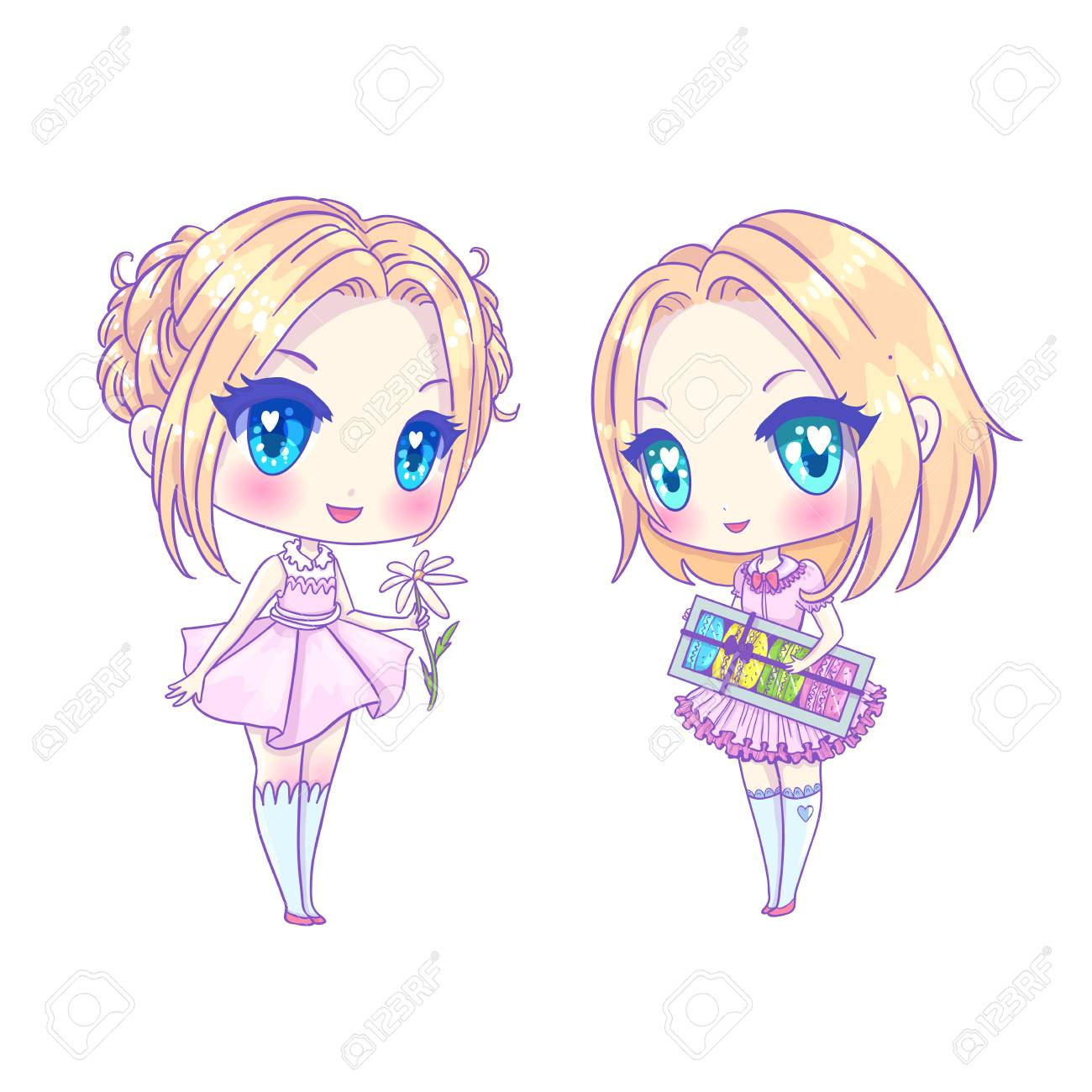 Cute Vector Illustration Set Kawaii Anime Girl Big Eyes Use
