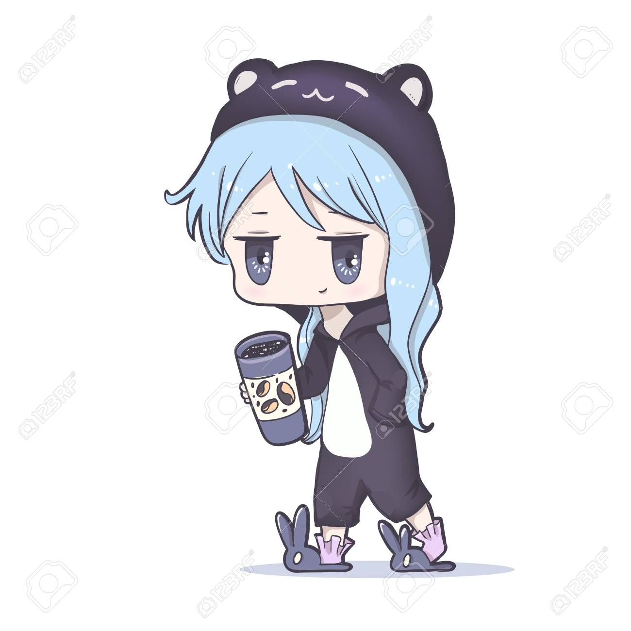 Cute vector illustration ake up and drink coffee kawaii anime girl big eyes