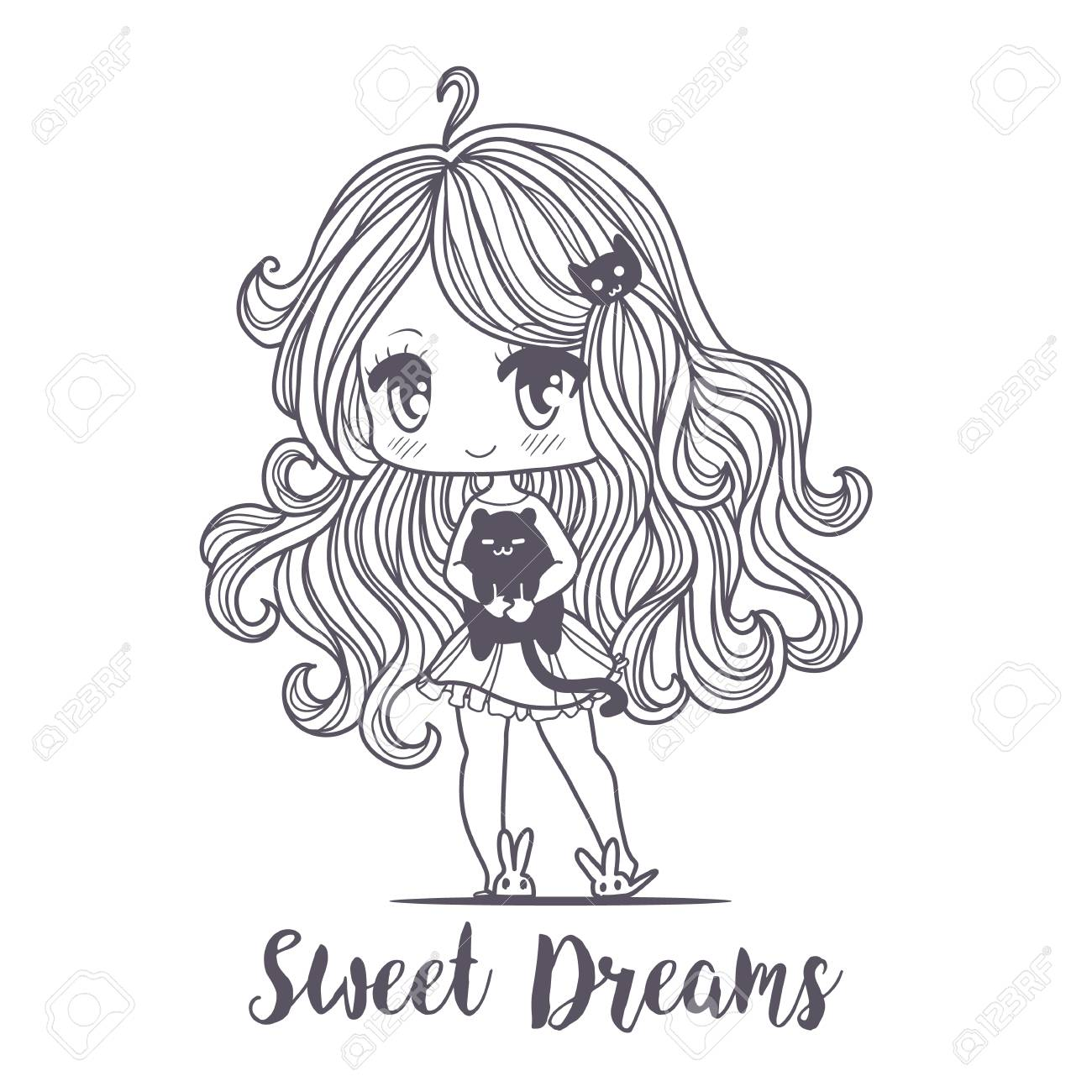 Cute Vector Illustration Kawaii Anime Girl Big Eyes Use For