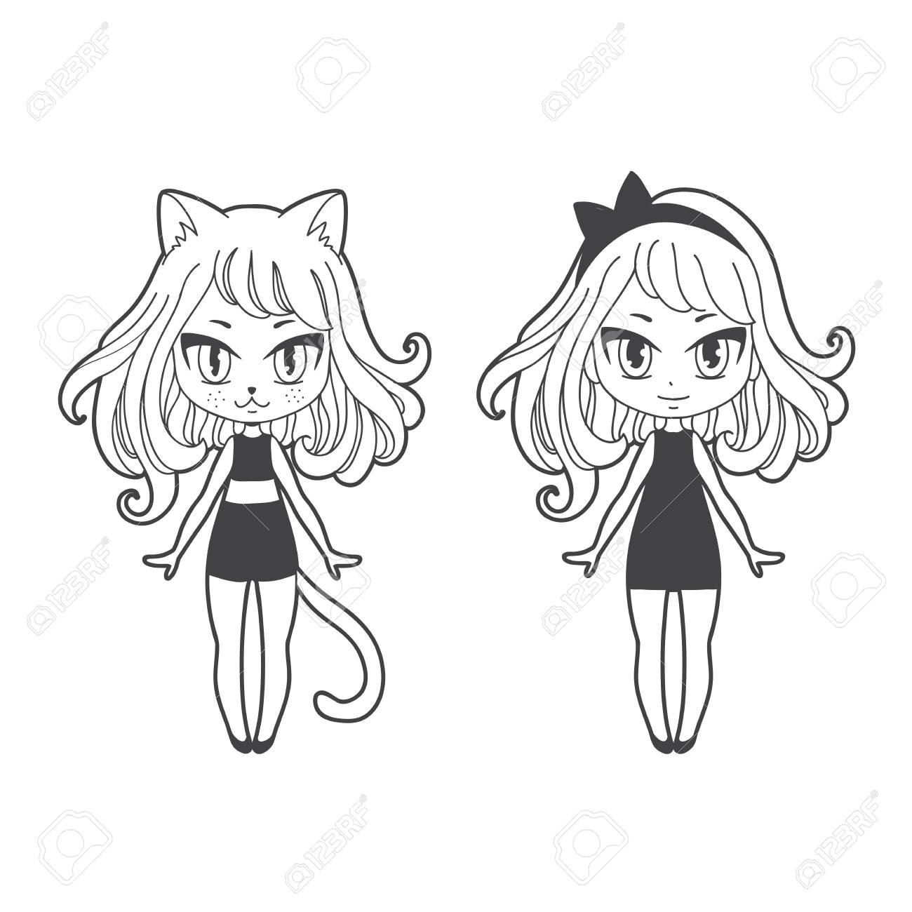 Cute Vector Illustration Kawaii Anime Girl Cat Big Eyes Use