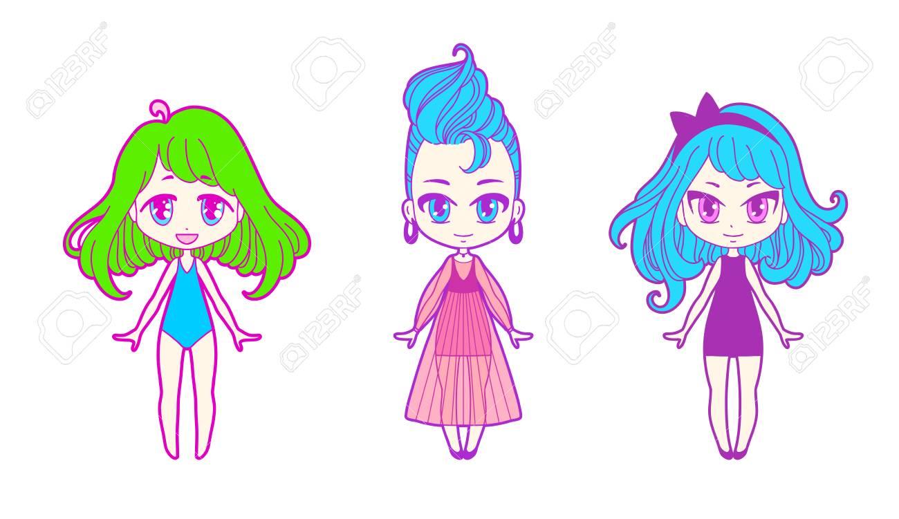 cute vector illustration. kawaii anime girl. big eyes. use for