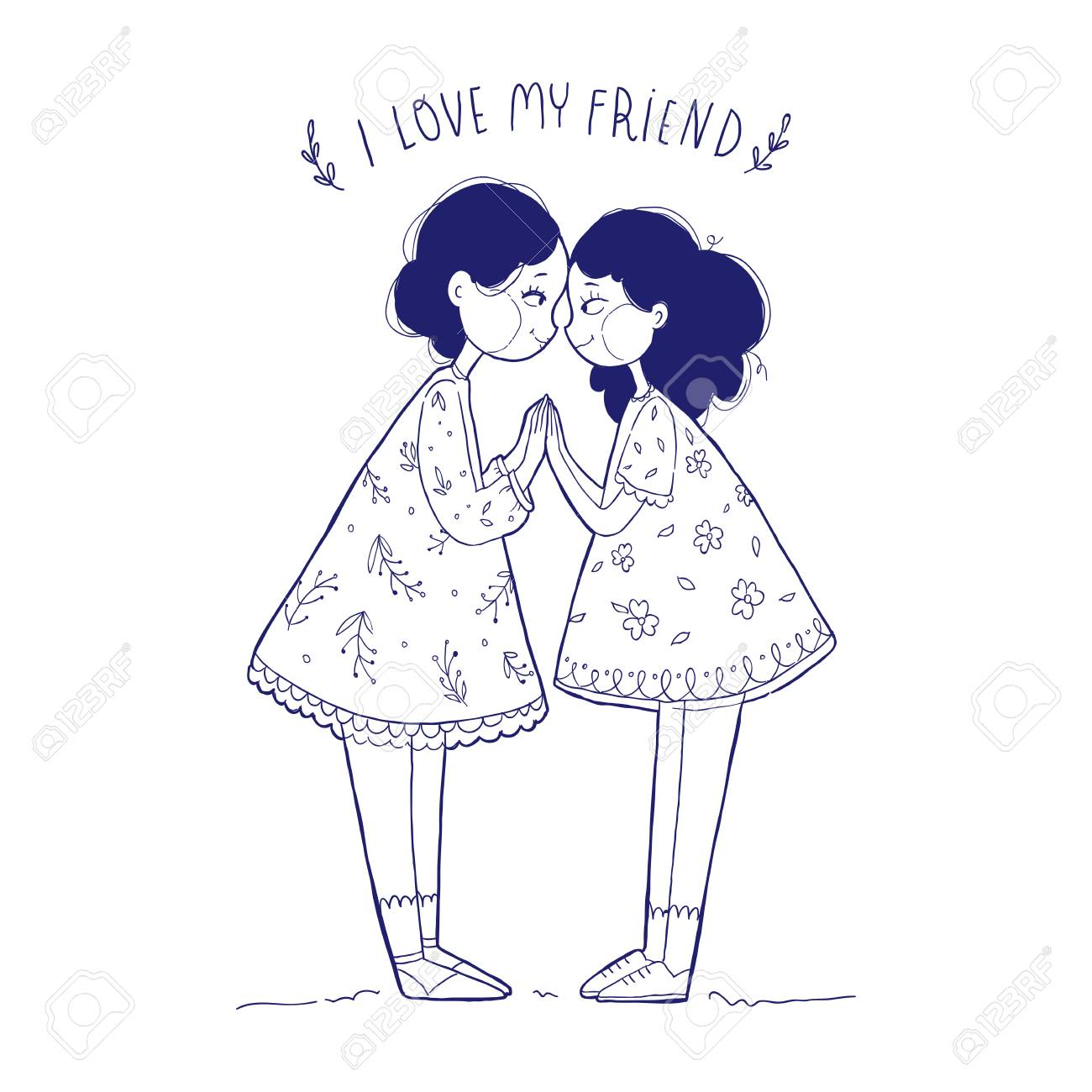Vector Illustration Greeting Card Happy Friendship Day Two