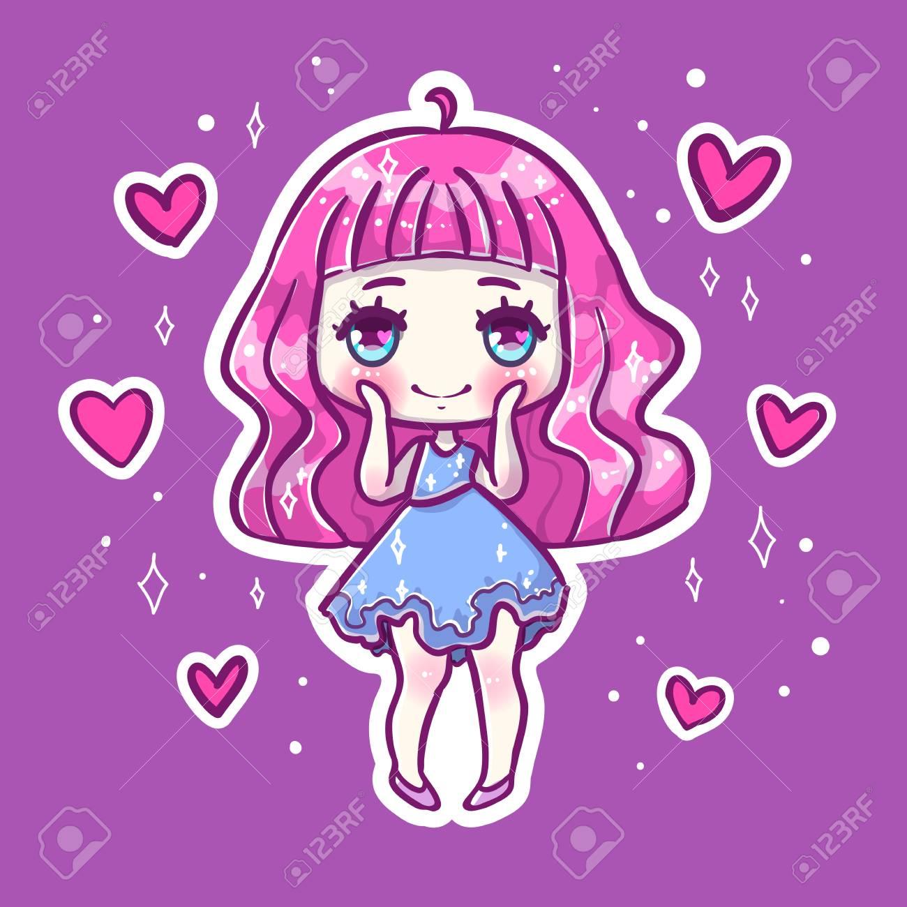 Cute Love Vector Illustration Kawaii Anime Girl Big Eyes Use
