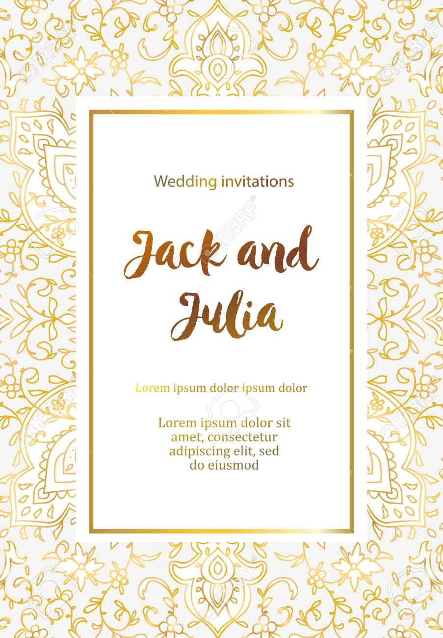 Beautiful gold greeting card. Vector illustration. Arab, Indian ornament. Invitation to a wedding, birthday, party and other holidays - 125326362