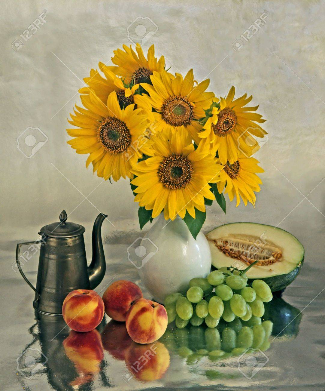 Still life with a sunflowers in vase and different fruits - 3662142