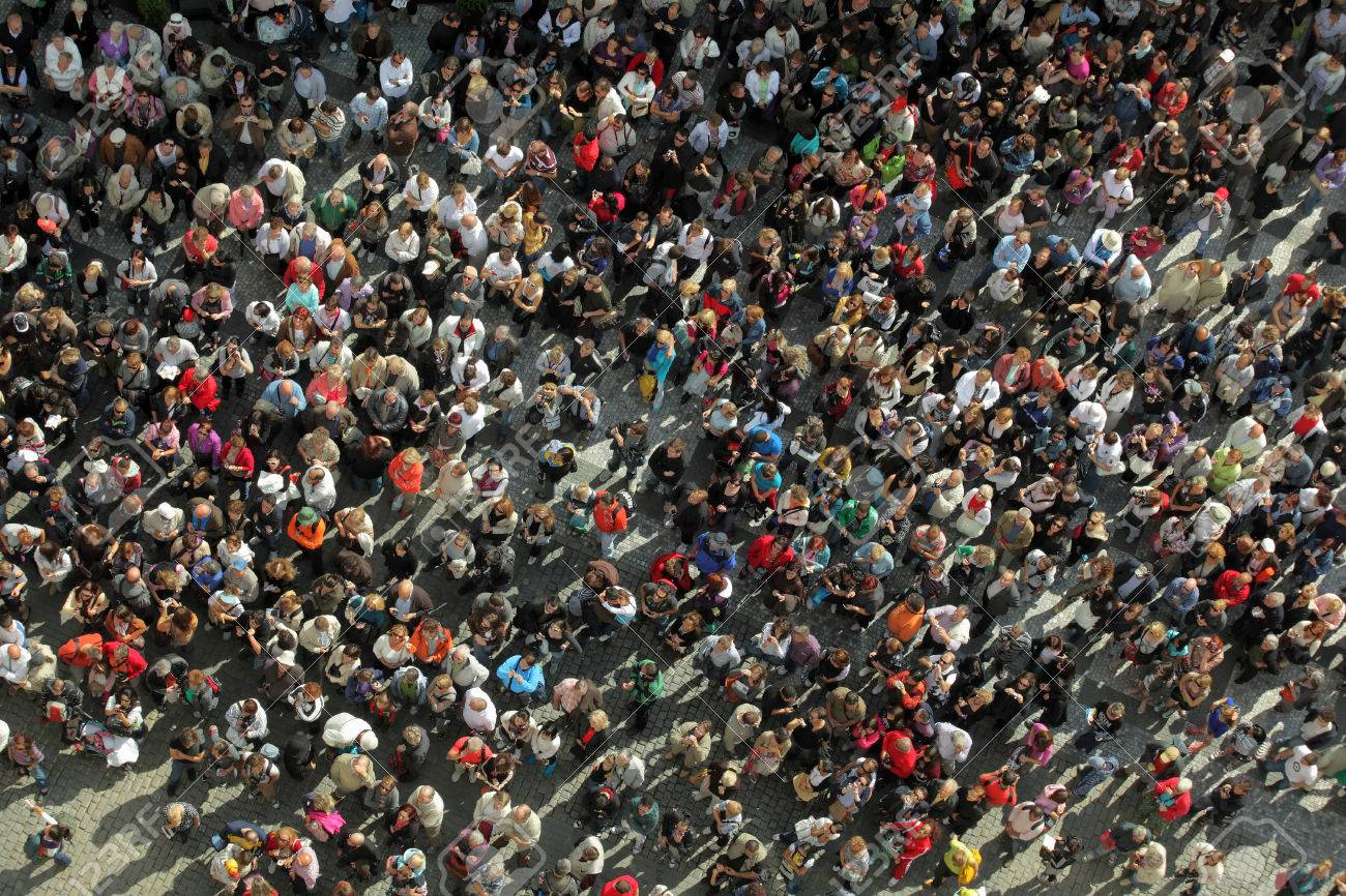 birds eye view to a crowd - 23271210