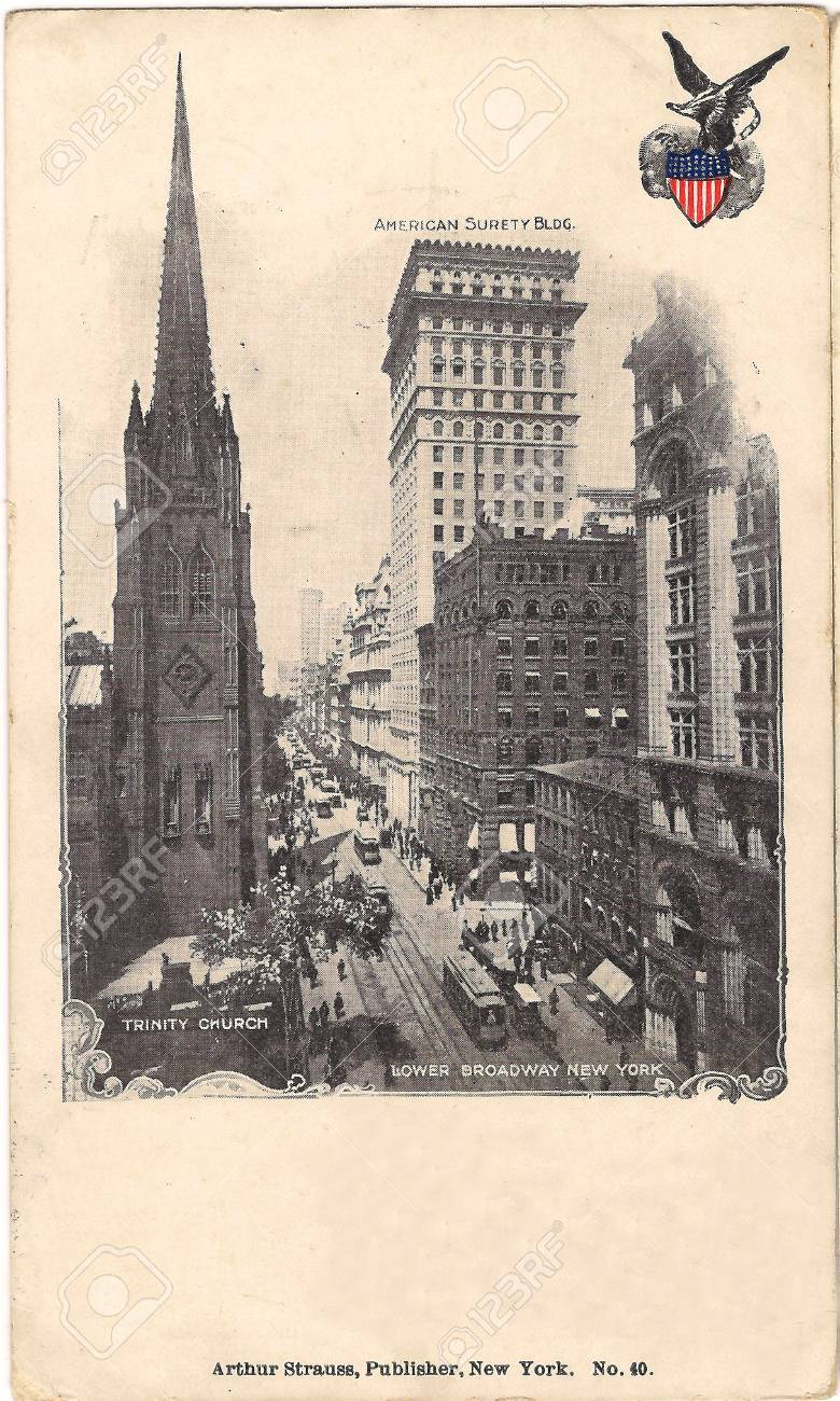 Old postcard from New York, Lower Broadway - 53270197