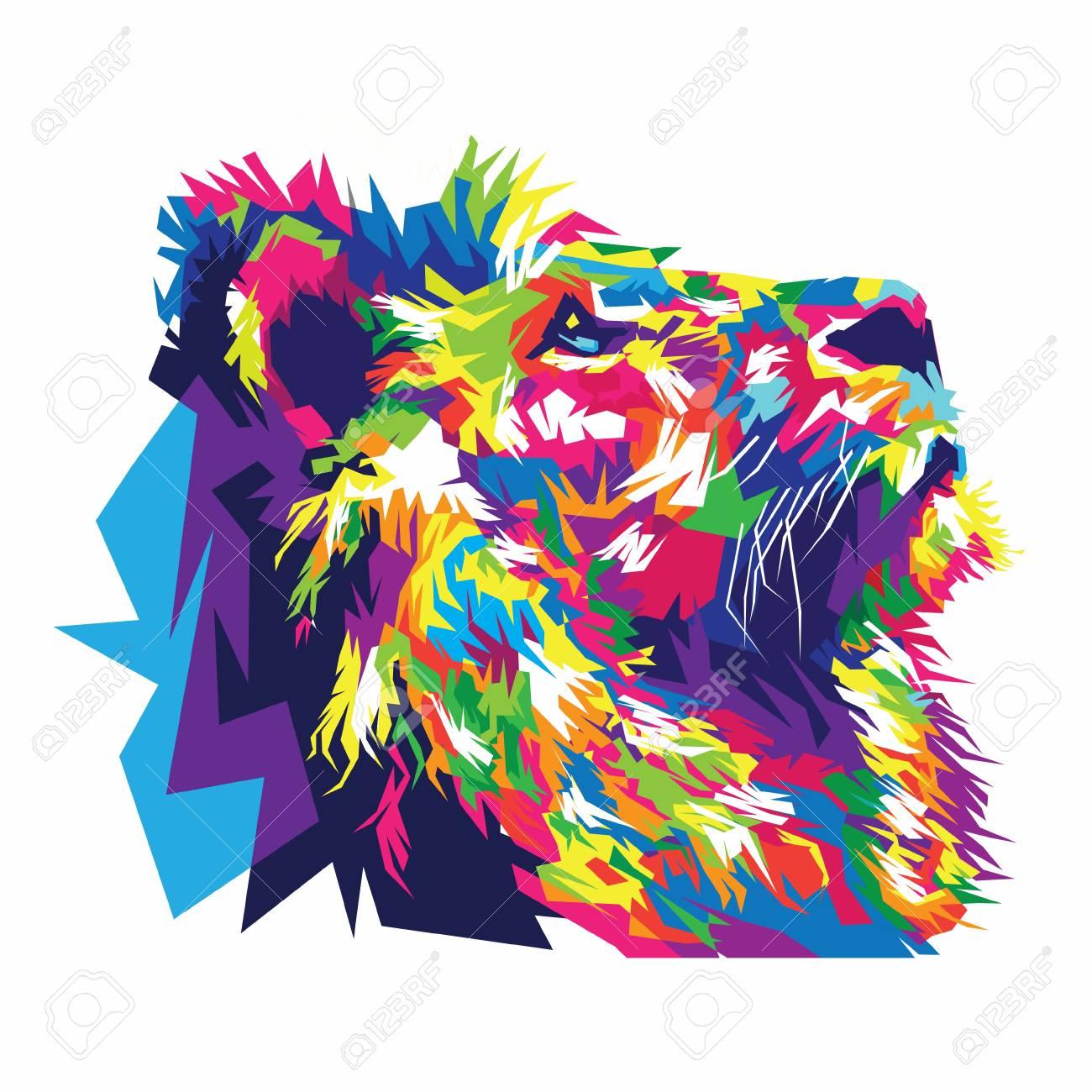 Colorful lion illustration lion art lion design stock vector 103753413