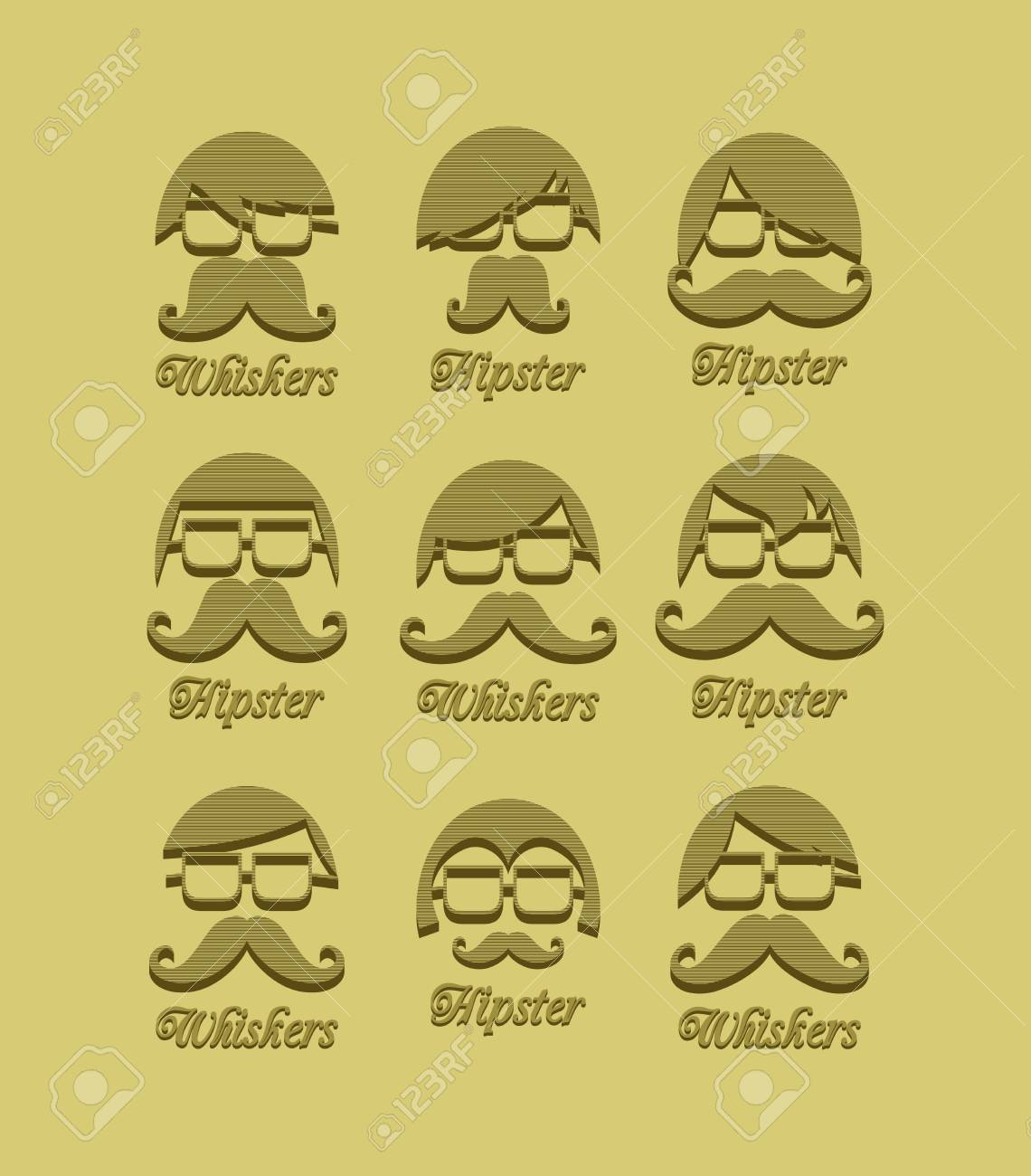 mustache guy vintage set Stock Vector - 24492194