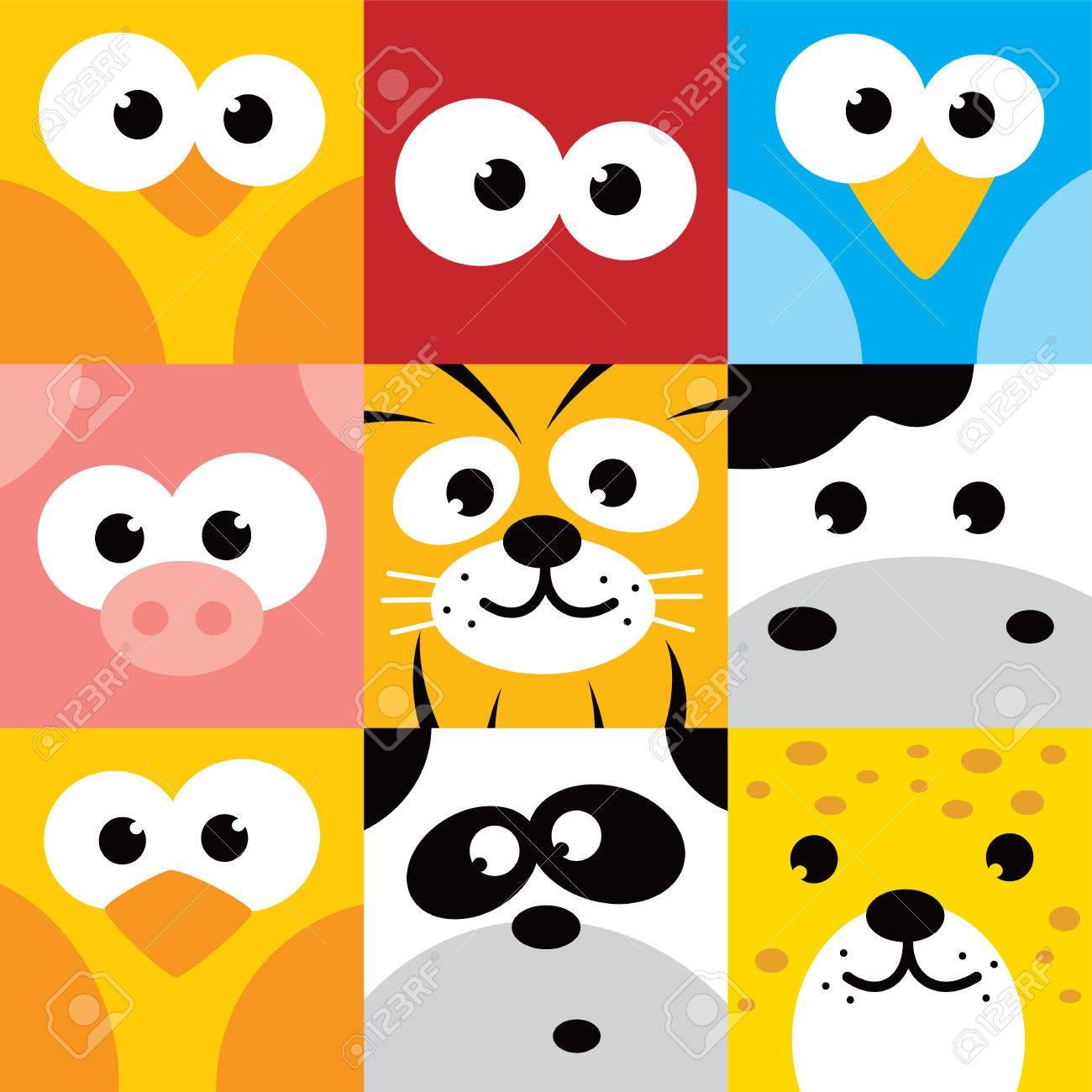square animal face icon button set vector illustration - 54142522