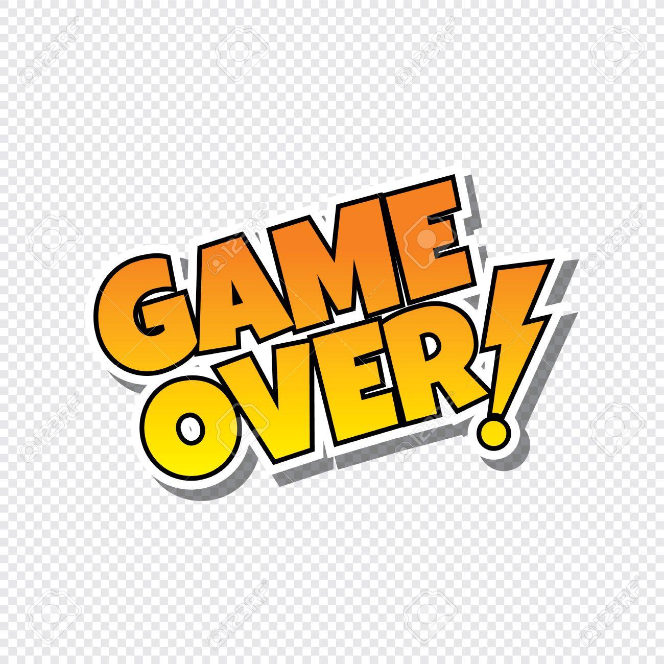 Game Over Cartoon Text Sticker Theme Vector Art Illustration ...