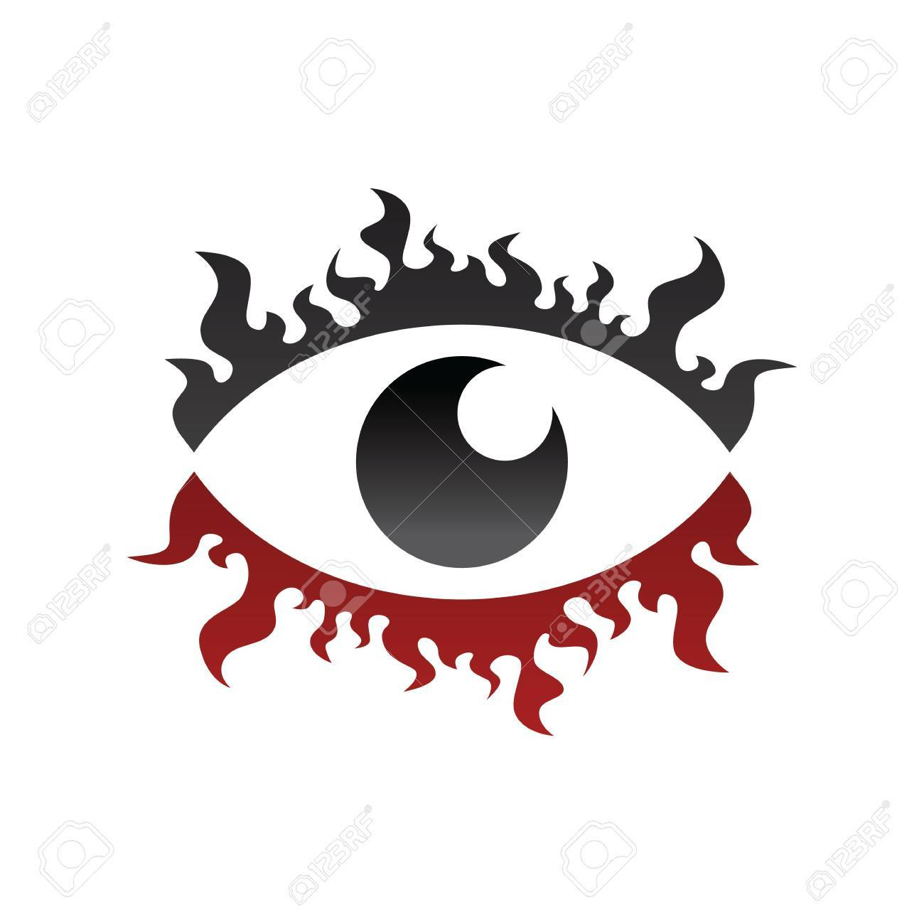 One Eye Look Watch Fire Burn Theme Vector Royalty Free Cliparts