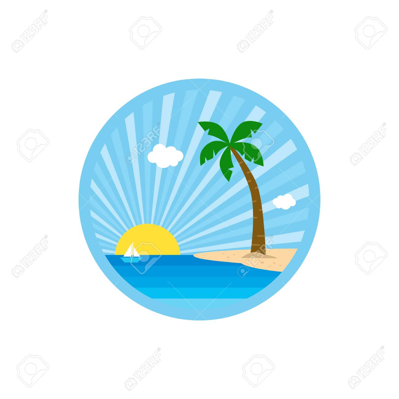 beach time tropical island summer vacation vector art template