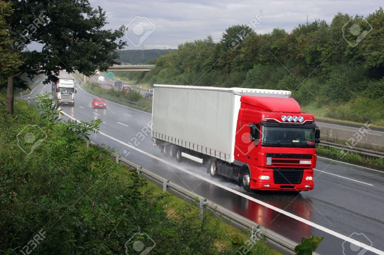 Truck on a german highway (Autobahn A-7 near Kassel) - 3677851