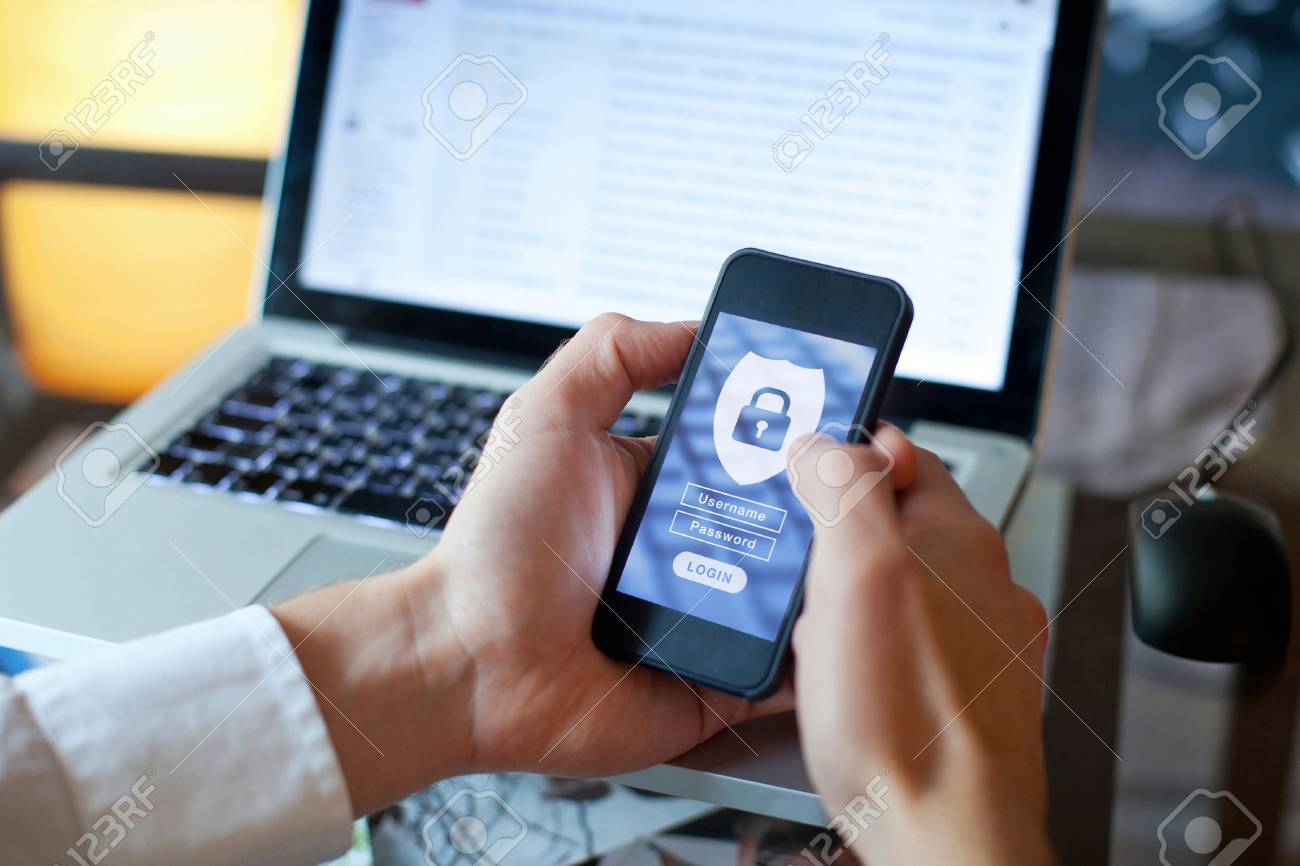 data security concept, mobile application access, login and password - 111082282