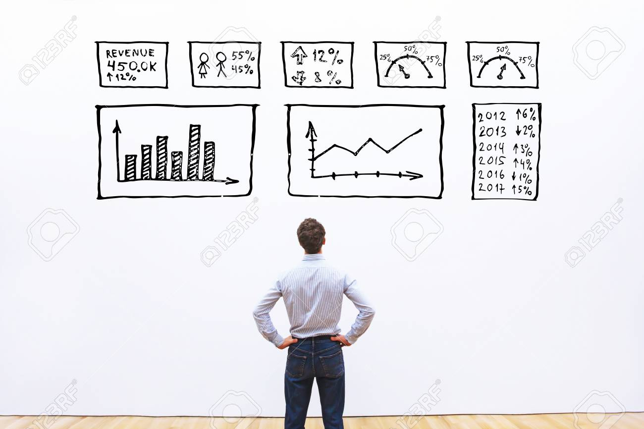 business analytics concept, businessman looking at dashboard with charts and graphs - 111082558