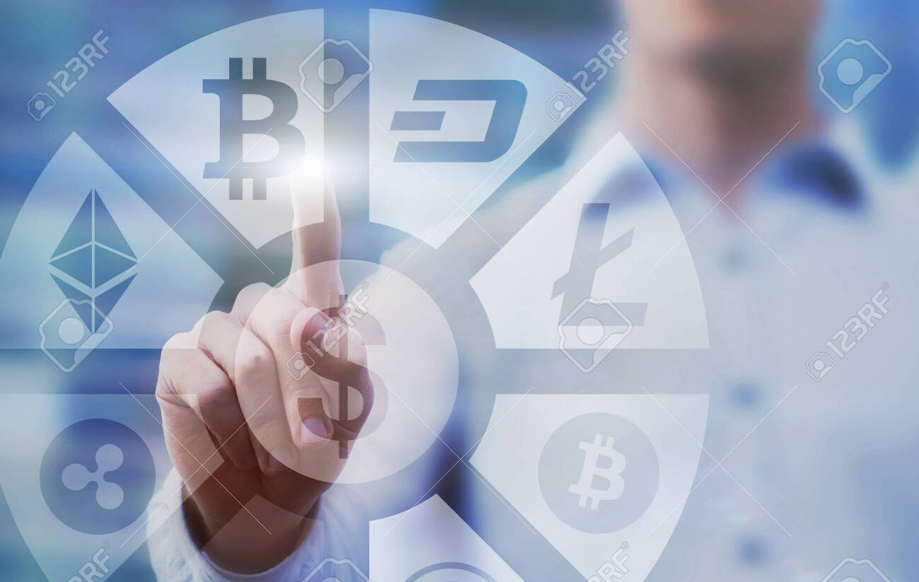 business man pressing buttons with bitcoin, litecoin and ethereum on virtual touch screen interface, digital money concept, cryptocurrency - 145005226