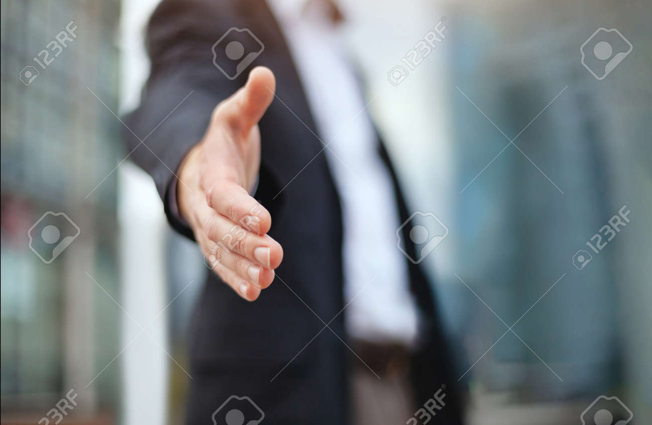 business deal proposal, recruitment, businessman offer hand for handshake and cooperation - 145513701