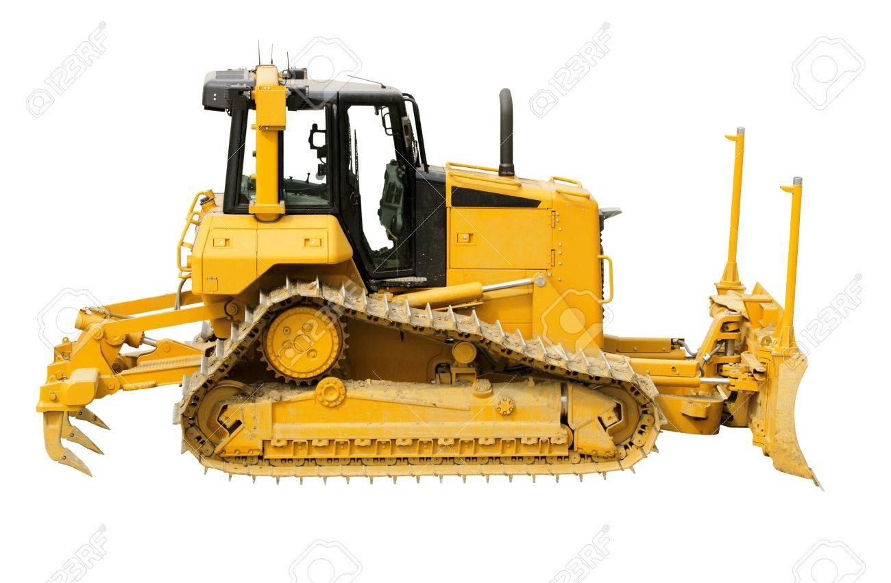 Yellow bulldozer on a white background Stock Photo - 9821121