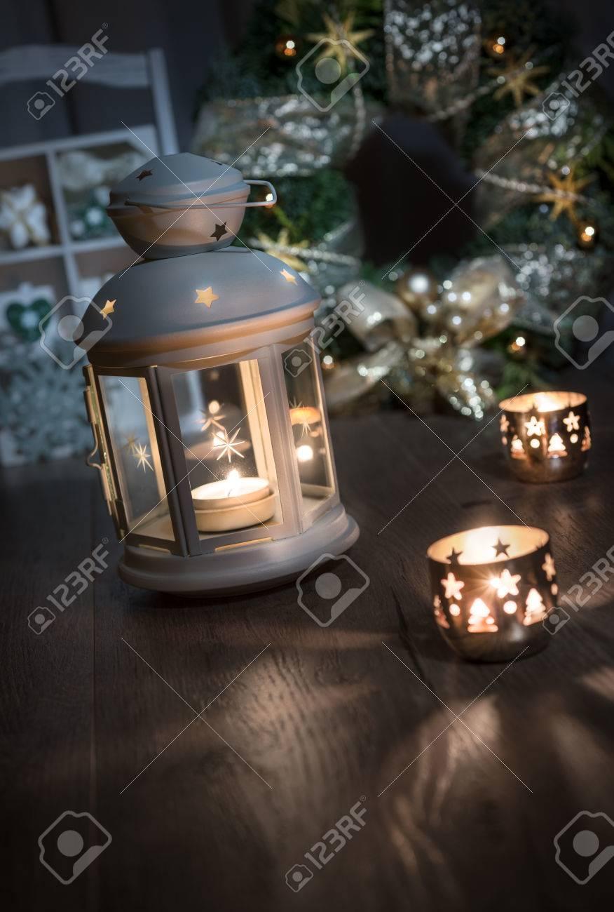 Dekorative Laterne Kerzen Und Weihnachtendecoratons Auf Holz Platz