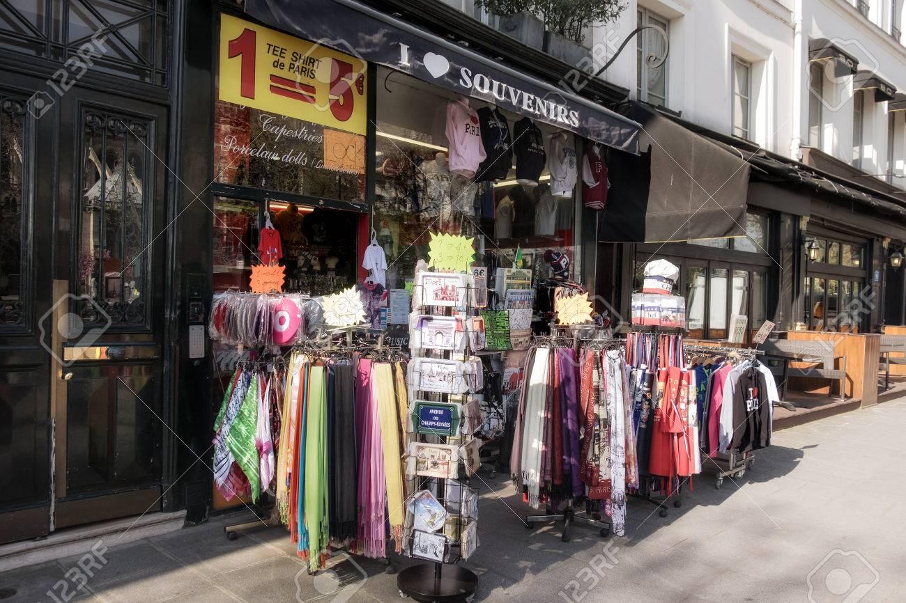 PARIS, FRANCE - APRIL 20, 2016: Souvenir shops are a favorite