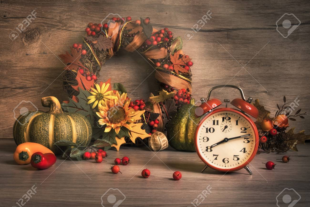 Autumn Still Life With Vintage Alarm Clock Ornate Wreath Berries And Ribbons Design