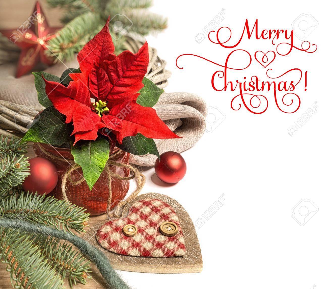 christmas border with poinsettia and christmas decorations caption - Merry Christmas Border