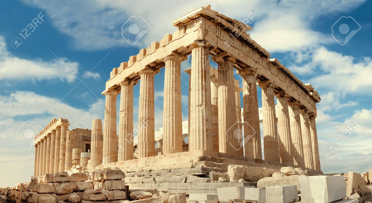 Parthenon temple on a bright day. Acropolis in Athens, Greece. Horizontal panorama, this image is toned. - 65940055