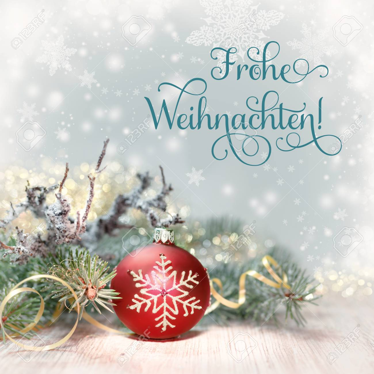 Bilder Frohe Weihnachten Merry Christmas.Christmas Tree And Red Bauble On Abstract Winter Background