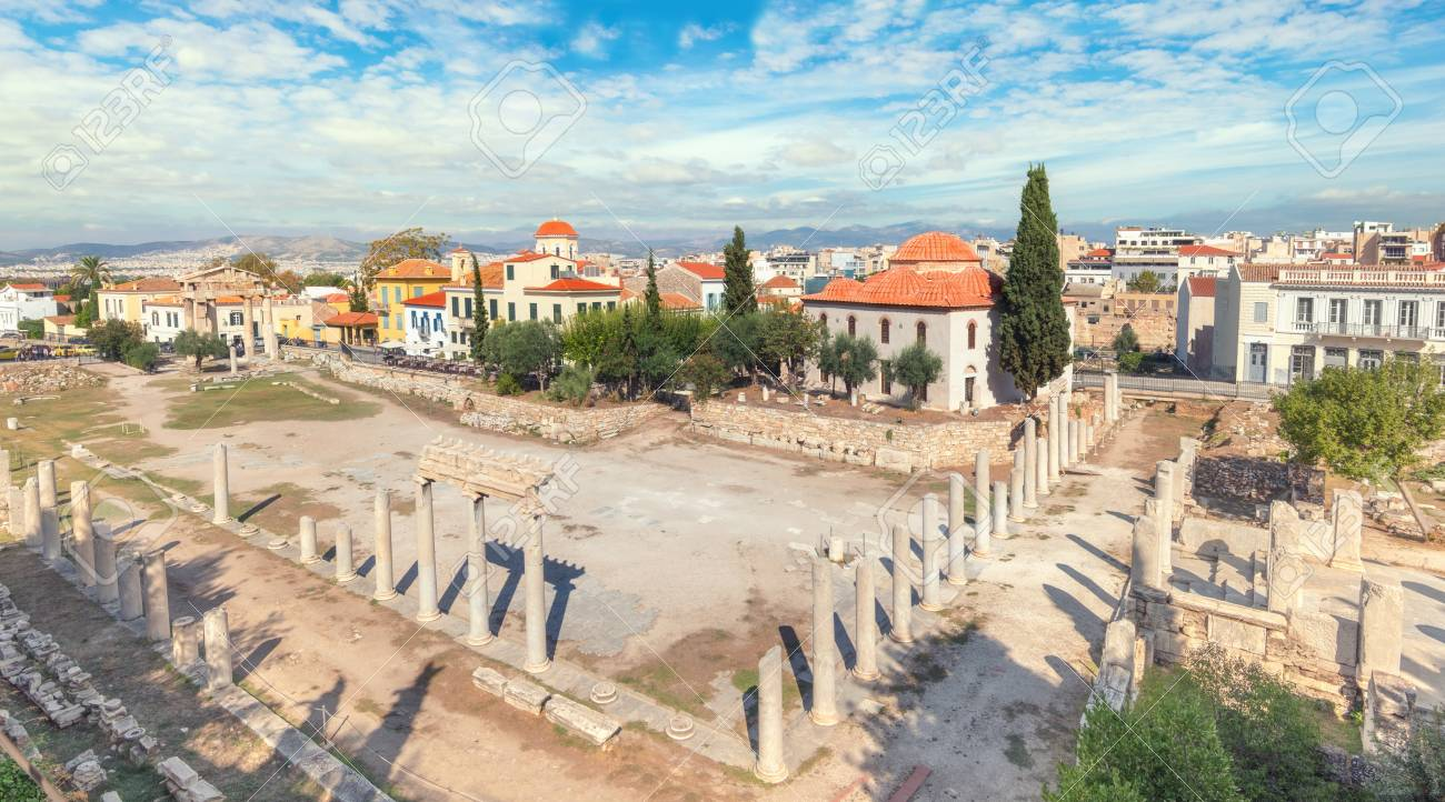 Remains Of The Roman Agora In Athens Greece Panoramic Toned Image Stock Photo