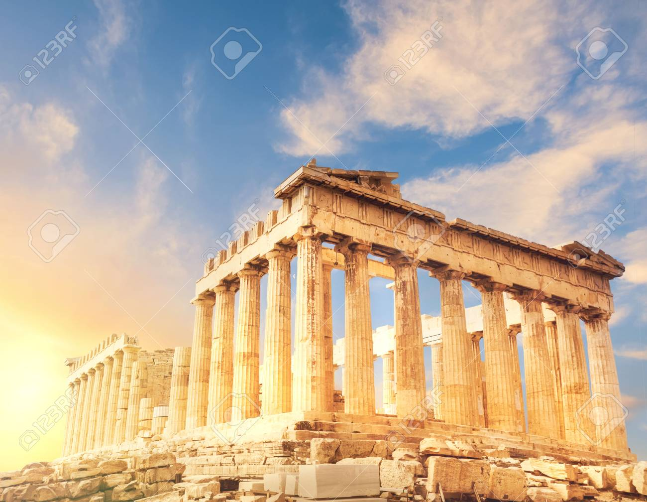 Acropolis in Athens, Greece. Parthenon temple on a sunset. This image is toned. - 73251991