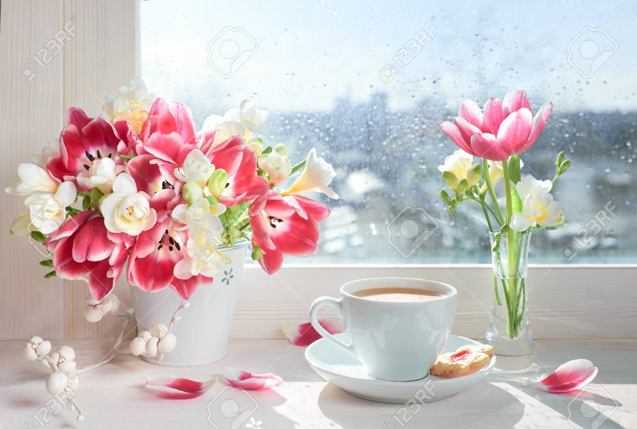 Cup Of Coffee On The Window Board Sunshine After The Rain Spring Stock Photo Picture And Royalty Free Image Image 97533806