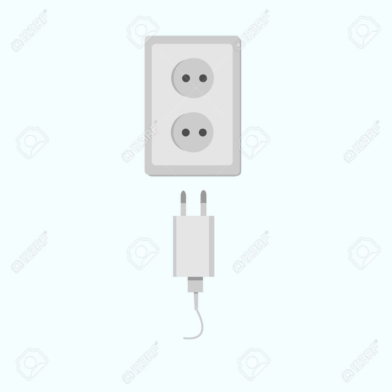 Electric Power Electricity Plug And Socket. Electric Device Charger ...