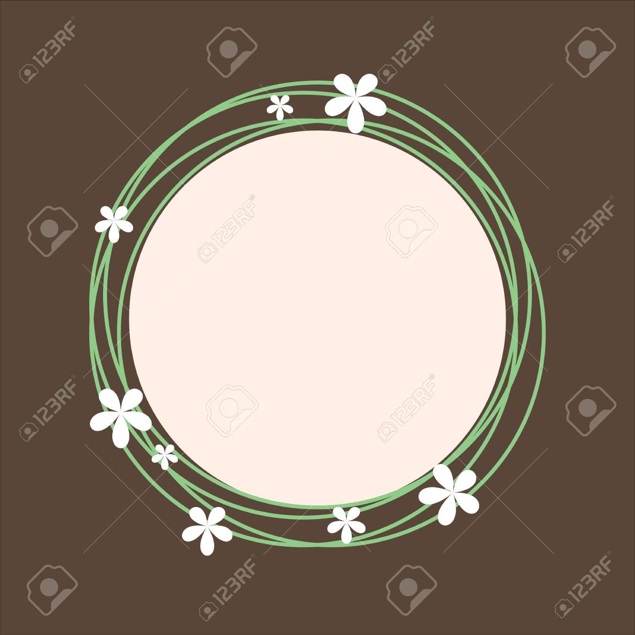 Tema Del Resorte Del Marco Circlular Con Diseño Floral De Tarjetas ...