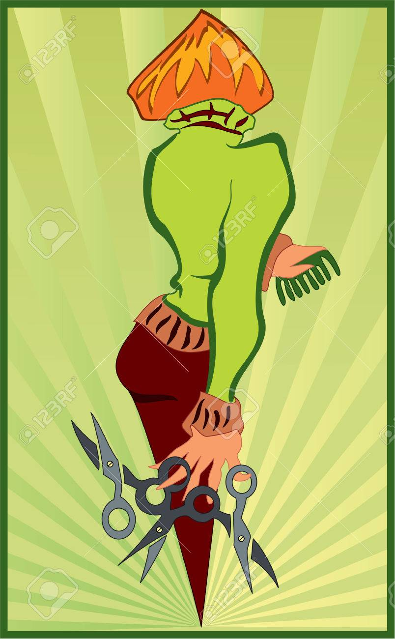 Illustration of a woman with scissors in her hand Stock Vector - 7491310