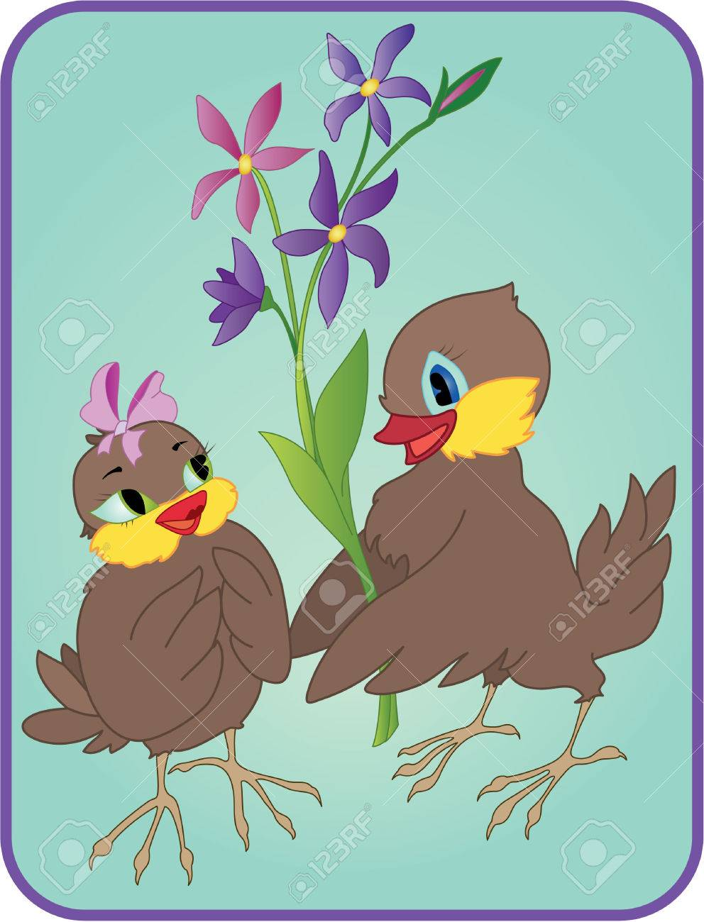 Two cartoon birds with flowers on a date Stock Vector - 7579867