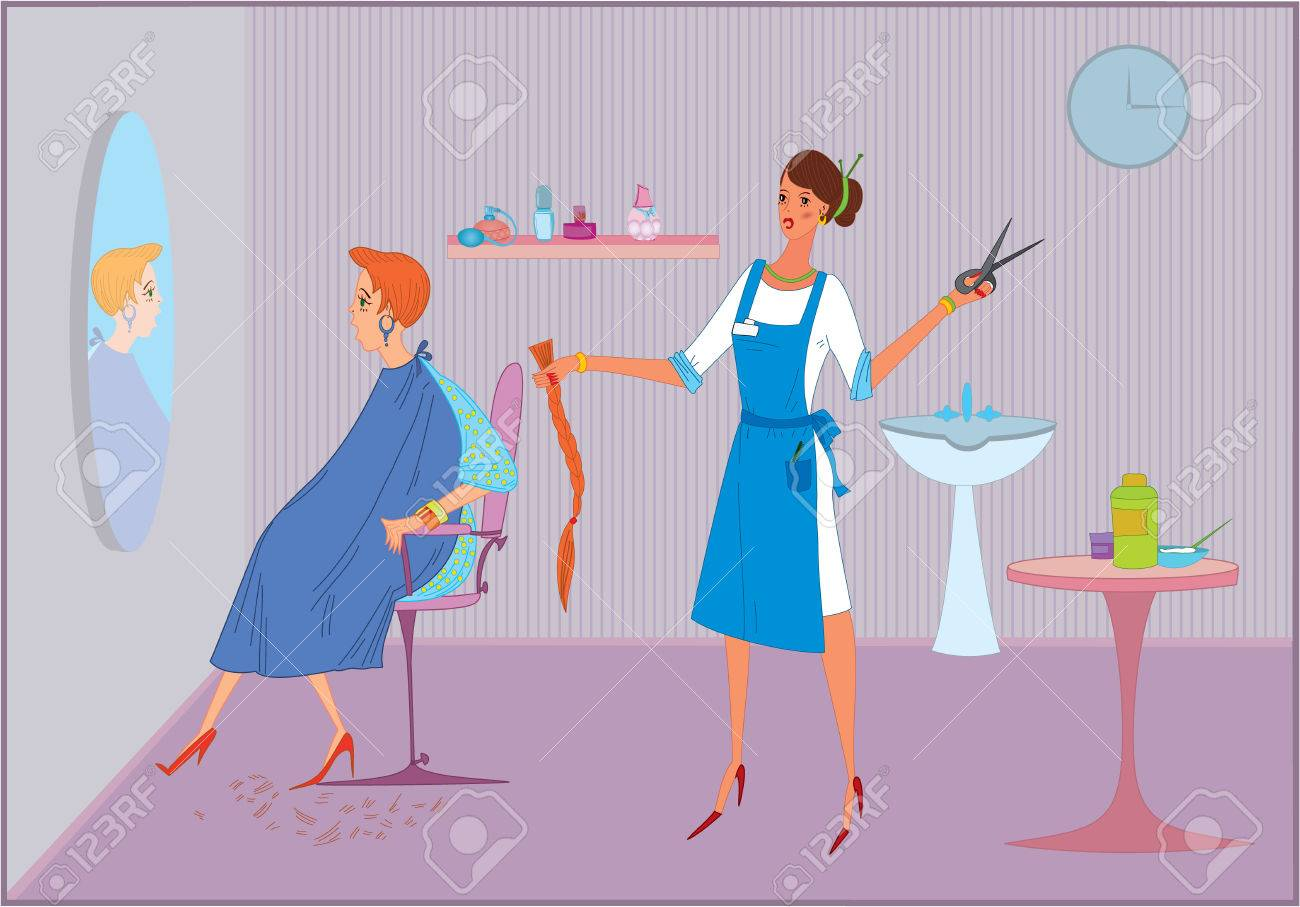 Beauty salon worker girl doing haircut  to  her client Stock Vector - 7579876