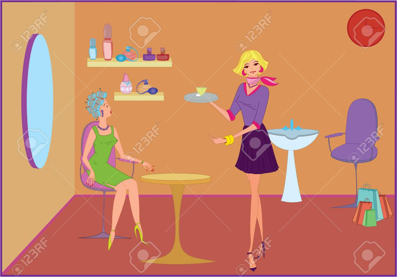 beauty salon manager offering coffee to a customer royalty beauty salon manager offering coffee to a customer stock vector 7579874