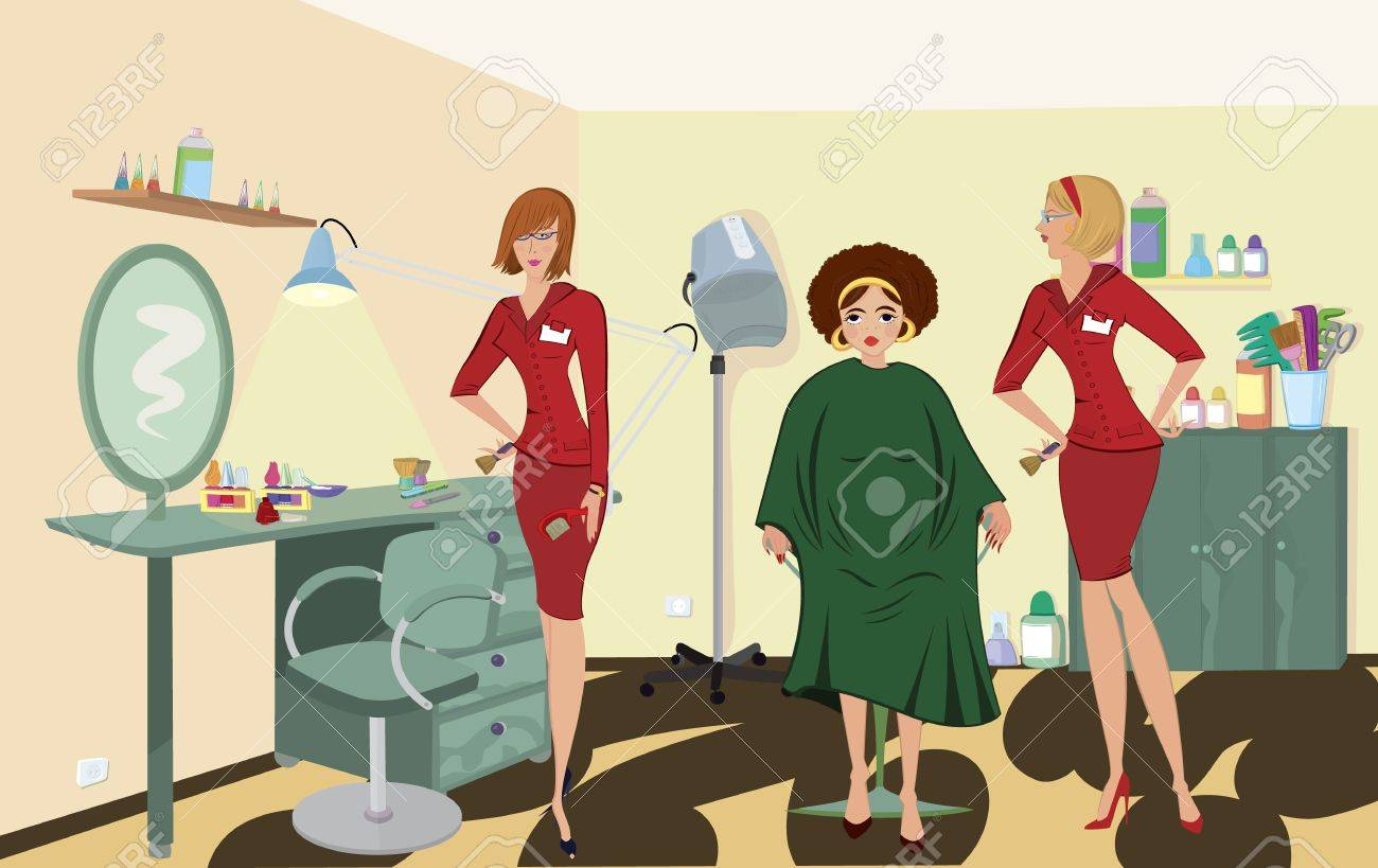 Beauty salon  client two salon workers in red uniforms Stock Vector - 11038875