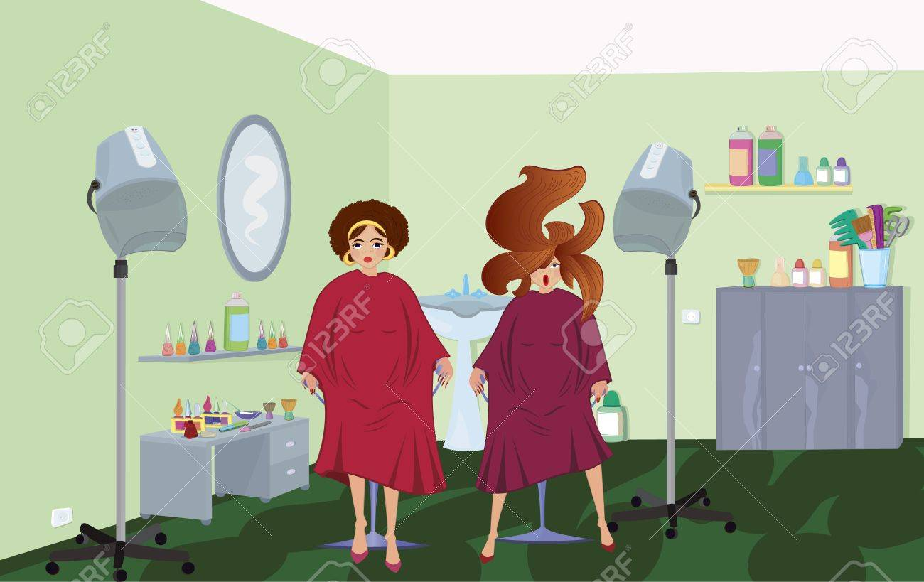 Beauty salon  clients in robes waiting for a hairdresser Stock Vector - 11038870