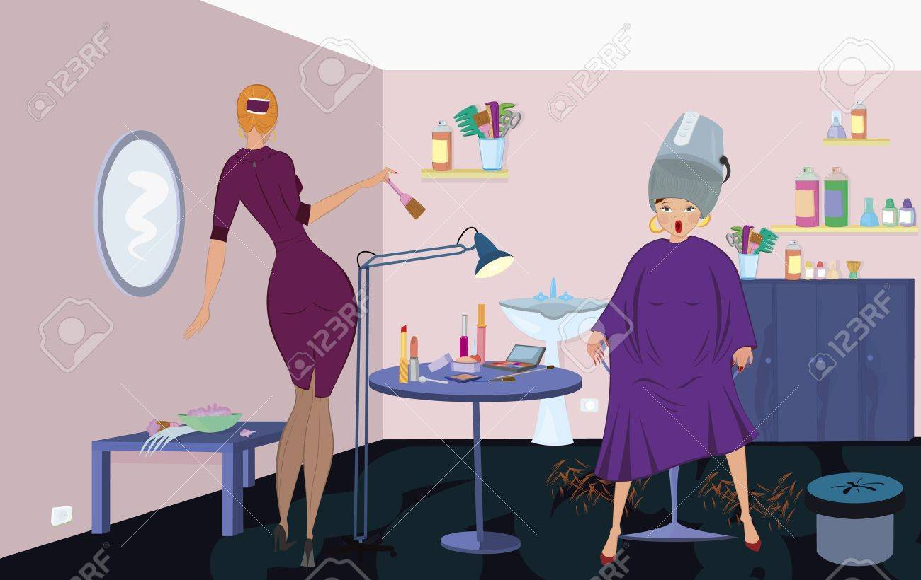 Beauty salon  worker with brush  and client under blow dryer stand up Stock Vector - 11038862