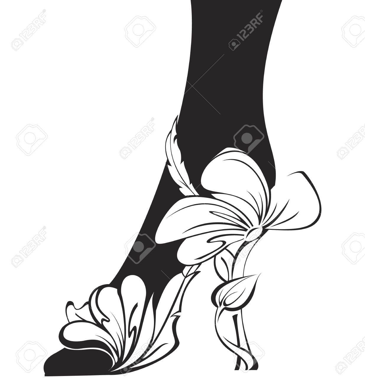 Black and white contour eco shoe  illustration Stock Vector - 14579145